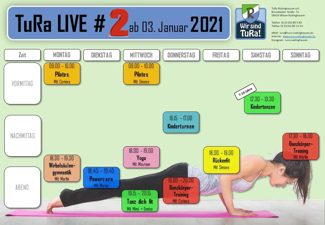 TuRa live Trainingsplan online ab 3. Januar 2021
