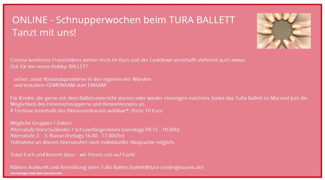 Ballett Anfänger Schnupperwochen TuRa Rüdinghausen