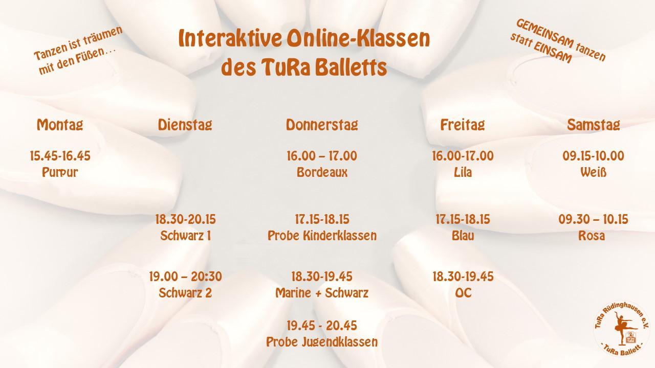 TuRa Rüdinghausen Ballett Unterrichtsstunden Stand Mai 2021
